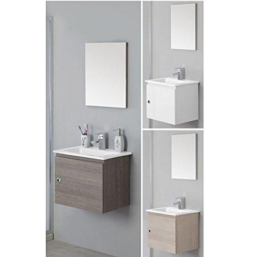 Bagno Italia Arredo Bagno Moderno 50 cm Disponibile in 3 Colori Mobile sospeso con lavabo mobili Salva Spazio I