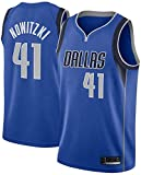 Wo nice Jerseys De Baloncesto para Hombre, Dallas Mavericks # 41 Dirk Nowitzki NBA Primavera Y Verano Uniformes De Baloncesto Chalecos Deportivos Tops Sin Mangas Camisetas,Azul,XL(180~185CM)
