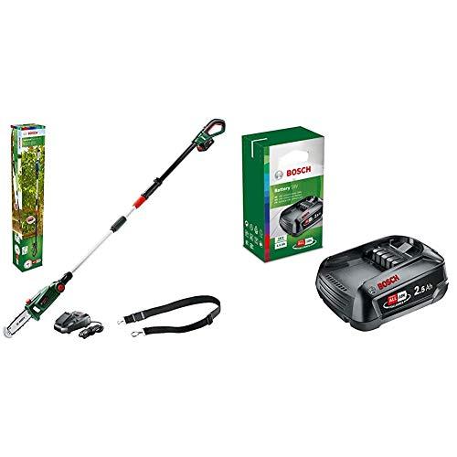 Bosch Akku Hochentaster UniversalChainPole 18 (Akku, Ladegerät, 18 Volt System, 2,5 Ah) & 18 Volt Ersatz Akku (2,5 Ah, kompatibel mit allen Geräten des grünen Bosch Home & Garden 18 Volt Systems)