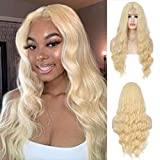 Youthfee Blonde Long Wavy Wigs Small Edge Lace Front Middle Part Natural Looking Curly Wig for White Women Synthetic Fiber Hair Replacement Wigs for Daily Party Use 28 inch