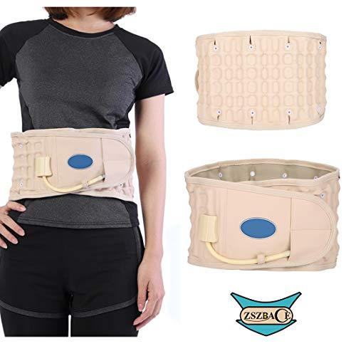 Cintura di decompressione ZSZBACE, terapia di compressione, supporto lombare e cervicale, sostegno della trazione, gonfiabile, trazione spinale. (Beige)