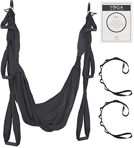 UpCircleSeven Aerial Yoga Swing Set - Yoga Hammock/Sling Kit + Extension Straps & eBook - Antigravity Ceiling Hanging Yoga Sling - Inversion Swing for Beginners & Kids