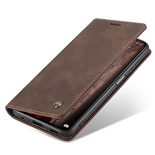 Blllue Capa carteira compatível com Huawei P20 Lite, capa flip retrô fosca porta-cartões fólio magnético para P20 Lite - Café