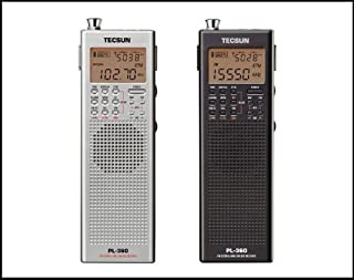 短波/AM/FMラジオAMジャイロアンテナでより高感度受信海外放送・競馬・株式受信に最適・携帯ラジオ・※日本語説明書pl360 (ブラック)