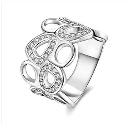 Aeici Silber Ring für Damen Modestil Geometrische Aushöhlung Intarsien Cz Größe 54 (17.2)