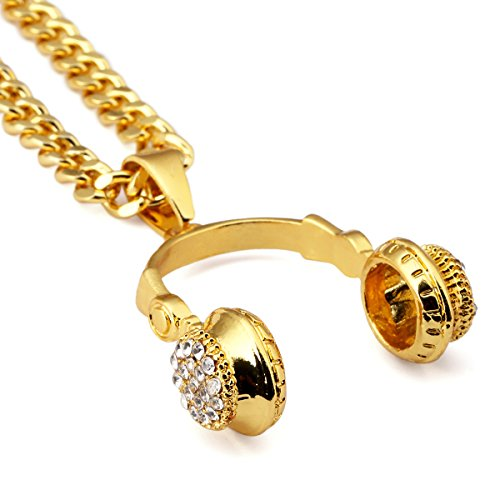 Nyuk Herren Fashion 18K vergoldet Creative Headset Anhänger Herren Halskette Charming
