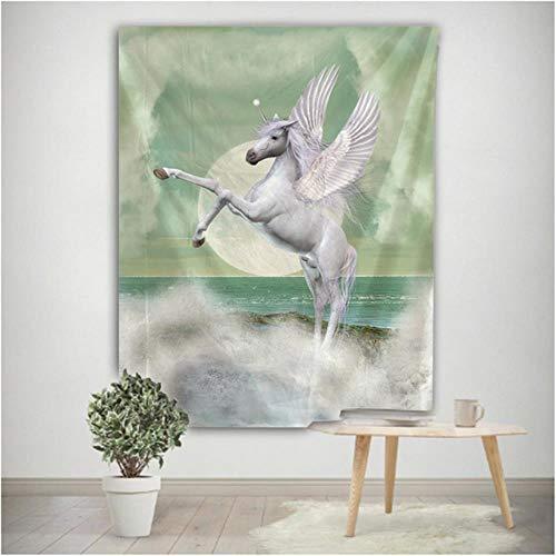Tapiz de pared con diseño de caballo volador para colgar en la pared, diseño de estrella psicodélico, bohemio, Datura hippie