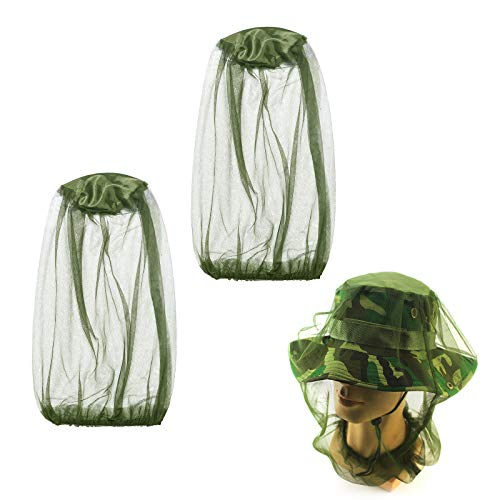 ZERHOK 2Stk Moskito Kopfnetz Moskitonetz Hut Kopfschutz Insektenschutz Mosquito Mücke für Outdoor Reise Wald Jäger See Angeln