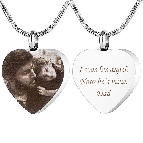 Personalized Custom Photo Cremation Ashes Pendant Jewelry Engraved Name Date Memorial Keepsake Heart-shape Dog Tag Urn Necklace for Pet(Silver Heart-Black & White Photo)
