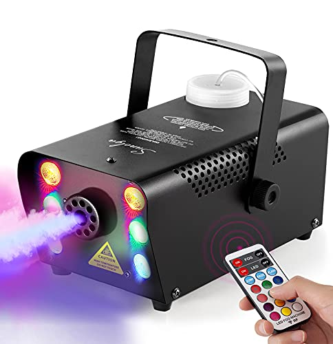 Sunolga Halloween Fog Machine,6 Stage LED Lights with 12 Colors,500W Wireless Remote...