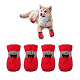 YAODHAOD Dog Shoes for Small Dogs Anti-Slip Dogs Boots Paw Protector with Reflective Straps Lightweight Walking Pet Booties for Small and Medium Pets (6, red)