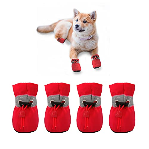YAODHAOD Dog Shoes for Small Dogs Anti-Slip Dogs Boots Paw Protector with Reflective Straps Lightweight Walking Pet Booties for Small and Medium Pets(4,red)