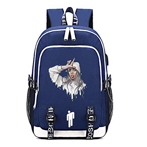 FURUN Billie Eilish Unisex Backpack School Bag Travel Rucksack Daypack with USB Charging Port Teen Outdoor Casual Hiking Daypack