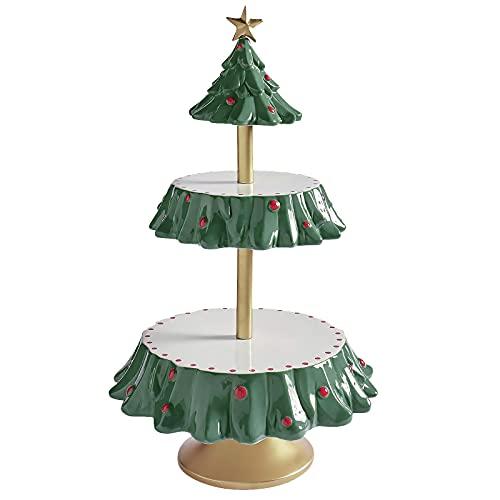Soporte de cuenco de aperitivos de Navidad, soporte para tazones de caramelo, bandeja de resina de dos niveles para servir magdalenas, cuenco para fiestas, platos de frutas y postre pan