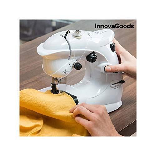 InnovaGoods kompakte Nähmaschine, 6 V, 1000 mA, Vinyl und ABS, Weiß, 23 x 26 x 12 cm