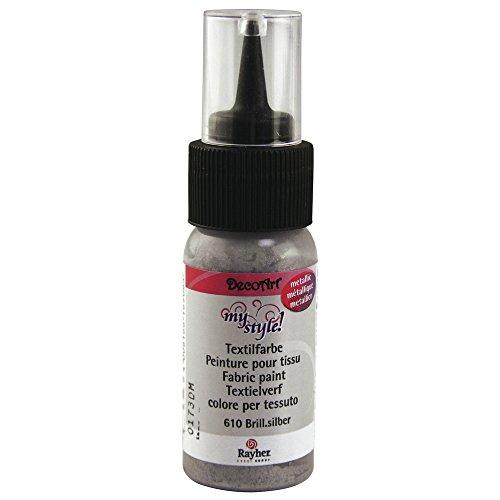 Rayher Hobby 38483610  My Style Textilfarbe, metallic, 29 ml Flasche auf Blisterkarte, brilliantsilber