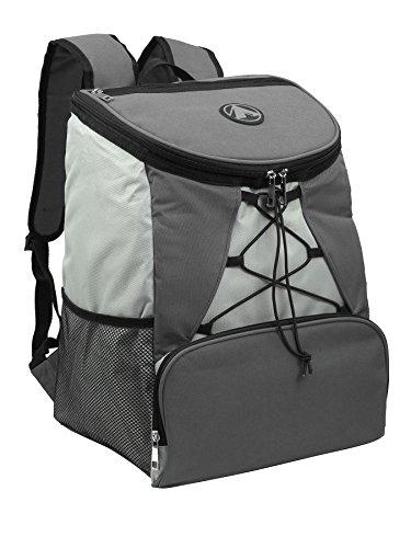 GigaTent Fully Insulated Interior Cooler Backpack 600D Adjustable Padded Shoulder Straps Bungee Cord Leakproof Water Resistant Cooler Extra Storage 2 Mesh Side Pockets