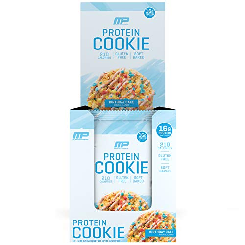 MusclePharm Combat Cookie Birthday Cake Protein Cookies by The Makers of Combat Crunch - Soft Baked Cookie drizzled with Vanilla Icing, Packed with 16G of Protein and 210 Calories, 12 Cookies