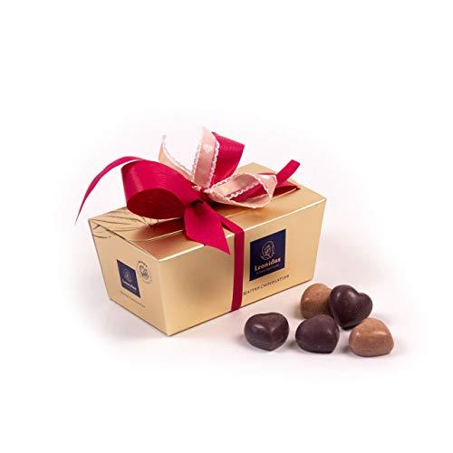 Leonidas Pralinen | 350g handverlesene belgische Pralinen Mischung mit handgefertigter Schleife in goldenem Pralinen Ballotin, ideal als Geschenk zum Valentinstag (Bunt gemischt)