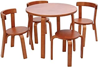 Kids Table and Chair Set - Svan Play with Me Toddler Table Set with 3 Chairs and Stool - 100% Wood (Cherry)