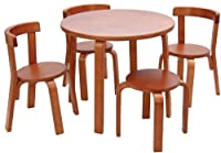 (スバン) Svanキッズテーブル椅子セットおままごと幼児用テーブルセット 椅子3脚スツール 100%木製 Toddler レッド S8502