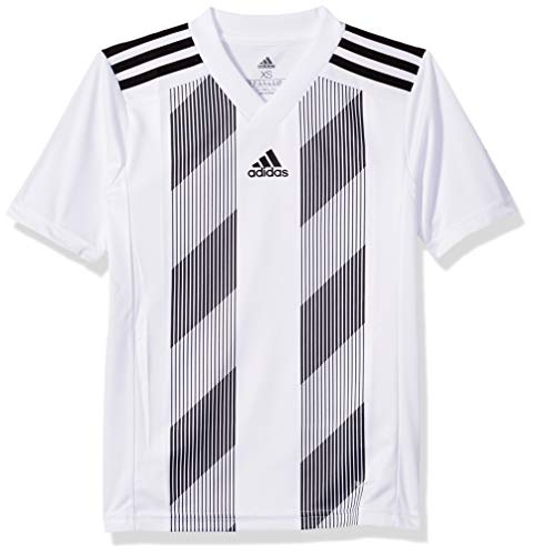 adidas Juniors' Striped 19 Soccer Jersey, White/Black, Large