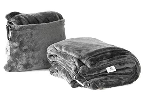 Maluhia Designs Travel Convertible Blanket Pillow Micro Fleece Ultra Soft Throw Charcoal Gray
