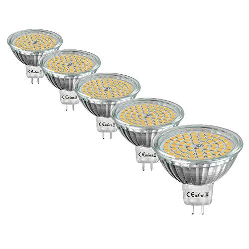 DoRight 5X DC 12V Mr16 Bombilla LED GU5.3 Bi-pin Base Reflector Lámpara de Foco, Blanco Cálido 3000K, Luces Puntuales, 4W Equivalente a Bombillas Halógenas de 35W ángulo de haz de 120°, No Regulable