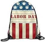 Mochila de Cuerda, Us Flag Labor Day Cute Large Print Gym Drawstring Bags Shoulder Sport Portable Sack String Bags Lightweight Travel Backpack Tote Cinch School Rucksack
