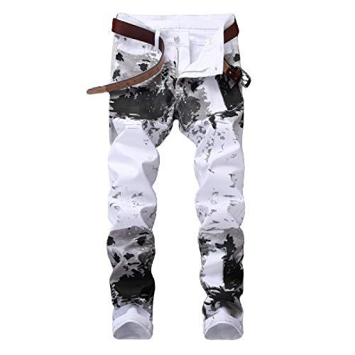 Beastle Pantalones Vaqueros para Hombre Estilo Europeo y Americano Nuevo 3D Impresión Digital Personalizada Pantalones Vaqueros Ajustados Pantalones Casuales elásticos de Moda 29