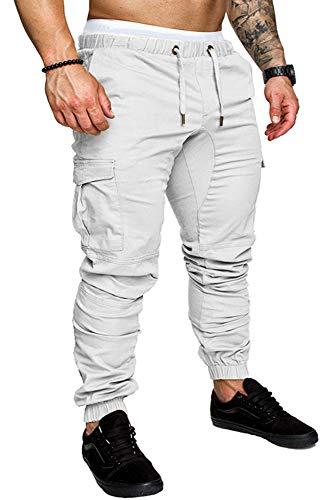 BOZEVON Pantalons pour Hommes - Outillage Multi-Poche à Cordon de Serrage à Taille élastique Pantalons pour Hommes (3XL, Blanc)