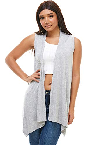 DOUBLEFIVE Casual Basic Color Long Sleeve Classic Lightweight Soft Open Front High Low Drape Sweater Comfortable Cardigan (H.Gray, Small)