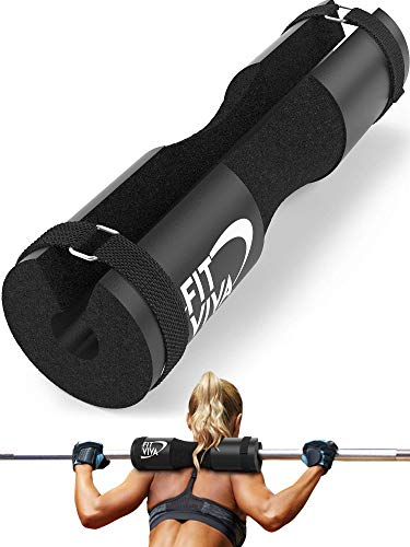 Black Barbell Pad for Standard and Olympic Barbells with Velcro Safety Straps - Foam Pad for Weightlifting, Hip Thrusts, Squats, and Lunges