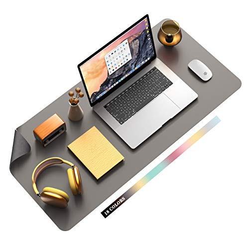 """Non-Slip Desk Pad, Waterproof PVC Leather Desk Table Protector, Ultra Thin Large Mouse Pad, Easy Clean Laptop Desk Writing Mat for Office Work/Home/Decor(Dark Gray, 35.4"""" x 17"""")"""