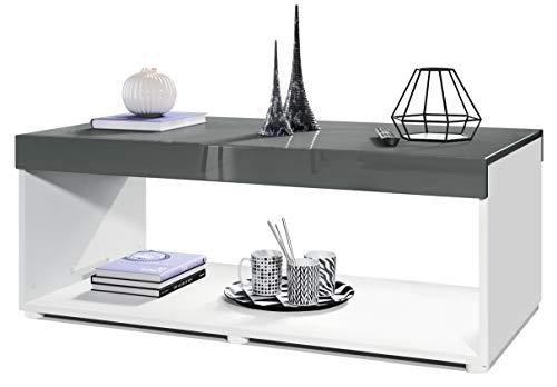 Vladon Couchtisch Wohnzimmertisch Pure mit Zwei großen Ablageflächen, Korpus in Weiß matt/Tischplatte und Blenden in Grau Hochglanz | Große Farbauswahl