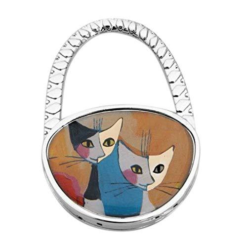 QTMY Rhinestone Diamond Imperial Crown Fold Table Purse Hook for Handbag Hanger (Cat)