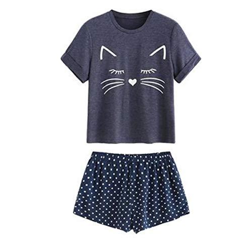 Loalirando - Pijama para mujer o niña, verano, conjunto de 2 piezas, camiseta de manga corta + pantalones cortos estampados con dibujos animados Gato azul oscuro. S