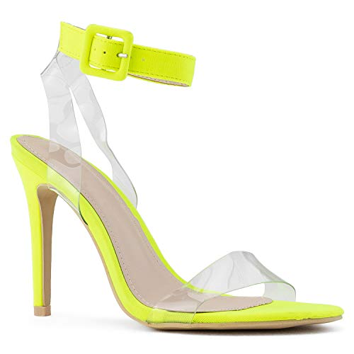 RF ROOM OF FASHION Women's Open Toe Clear Ankle Strap Dress Party Stiletto High Heel Sandals NEON Yellow Size-7