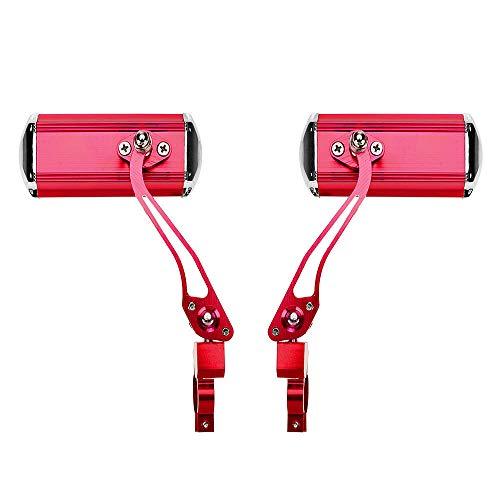 SuperglockT 1 Paar HD Fahrradspiegel bruchsicher Lenker Rückspiegel 12.5x4.5cm großer Lenkerspiegel 360 Grad drehbar für MTB Fahrrad Rennrad Mountainbike Rollstuhl Kinderwagen(Rot)