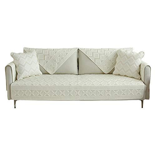 Homeen Funda de sofá cheslong,Funda de sofá de algodón Reversible,Funda de sofá de Tela de 2/3/4/5 plazas,Protector de sofá Transpirable,Protector de sofá Suave-Blanquecino_Los 70 * 150cm