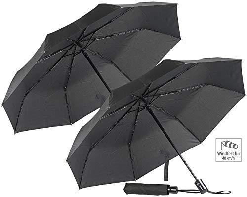 PEARL Taschenschirm: 2er-Set Automatik-Taschen-Regenschirme, bis 40 km/h, Ø 100 cm (Mini Regenschirm)