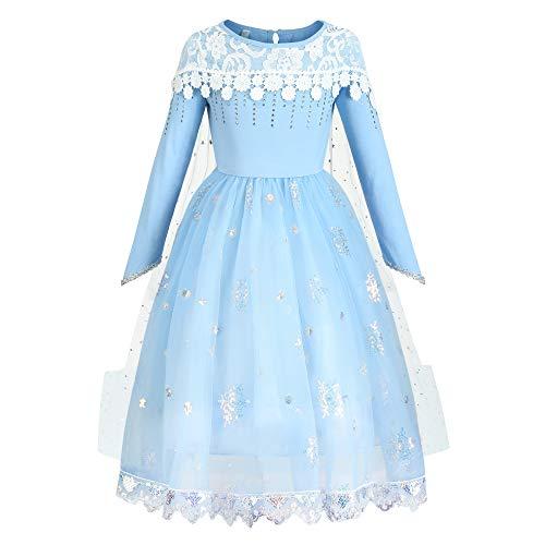 O.AMBW 3 Modelos Diferentes de Vestidos de Princesa Azul con Capa Larga Regalar Uso Todo El Ao Carnaval Halloween Navidad Reyes Magos para Nias de 2 a 9 Aos Altura 90-150 cm