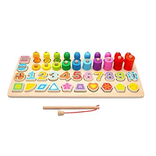 Bloque de apilamiento de Rompecabezas de números de Madera Conteo Clasificación Torre de apilamiento Número Montessori Educational Preschool Homeshchool Learning Toys