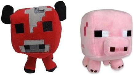 "Official Minecraft Overworld 7"" Plush Baby Mooshroom COW & Baby PIG Figure SET of 2"