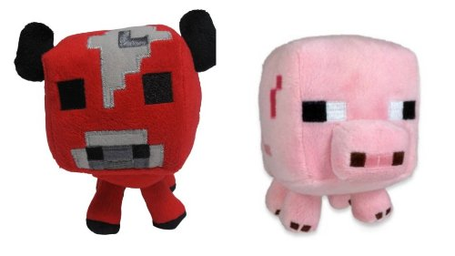 "Official Minecraft Overworld 7"" Plush Baby Mooshroom COW & Baby PIG Figure SET of 2"