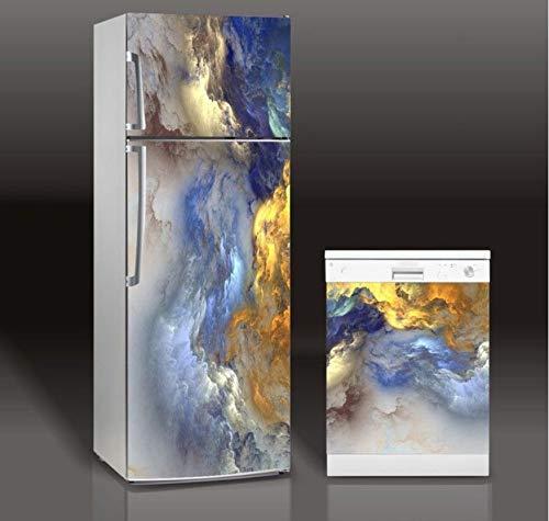 Abnehmbare 3d Kühlschrank Aufkleber Kunstherd Dame Kühlschrank Geschirrspüler Tür Abdeckung Küche Dekoration Zubehör Moderne Wandaufkleber 60 * 150 cm