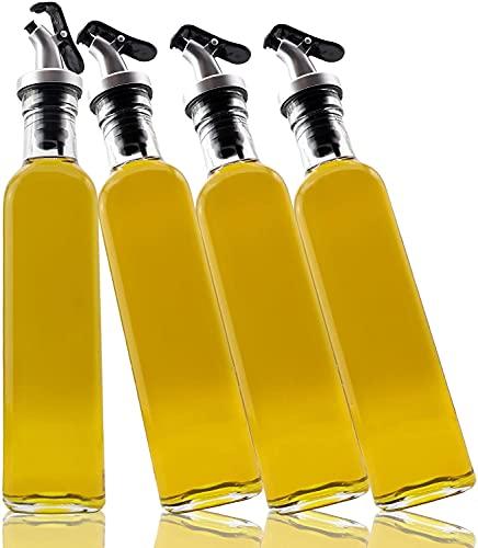 A M I N A Essig und Öl Spender Set - 4 x 500 ml Flaschen aus Glas mit Trichter aus Metall und Etiketten zur Beschriftung   Auslaufsicher und Tropffrei   mit Anti-Schmutz Verschluss