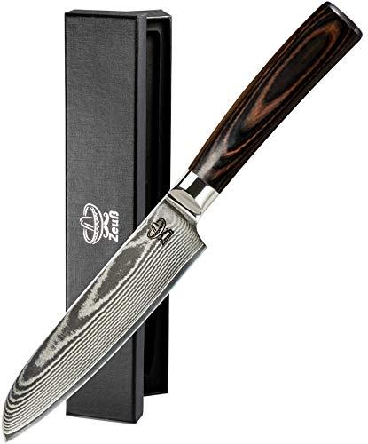 Zeuß L Küchenmesser Damastmesser (24 cm) - Profimesser - 67 Schichten - Damaststahl - Allzweckmesser - Santoku - Kochmesser - Chefmesser - Pro
