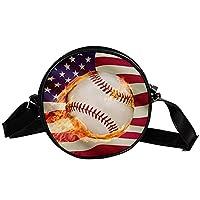 ショルダーバッグ、クロスボディプロテクションワンショルダーバッグ、キャンバス軽量、軽量 アメリカの国旗野球バット