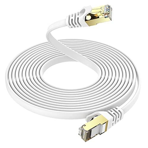 20m CAT 7 Netzwerkkabel Flach 10 Gbits - Ercielook Gigabit RJ45 Ethernet Kabel - LAN Kabel Patchkabel - 1000 Mbits Glasfaser Geschwindigkeit - Flachbandkabel Verlegekabel
